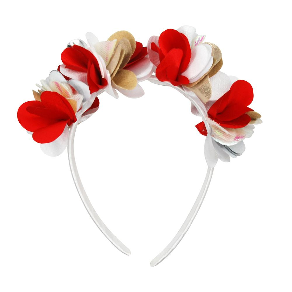 Christmas Petal Headband-White - Pink Poppy
