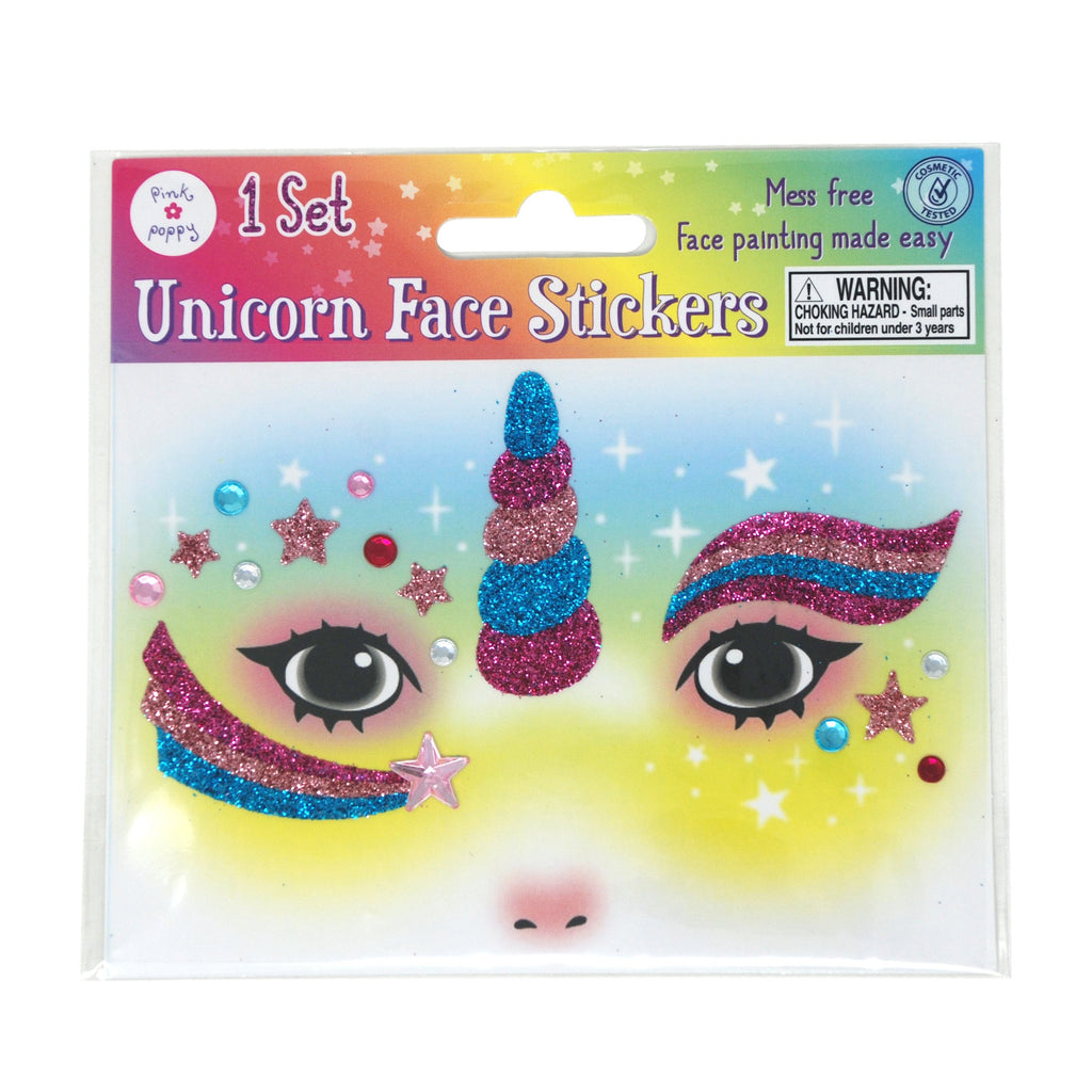 Unicorn Glitter Face Stickers - Pink Poppy