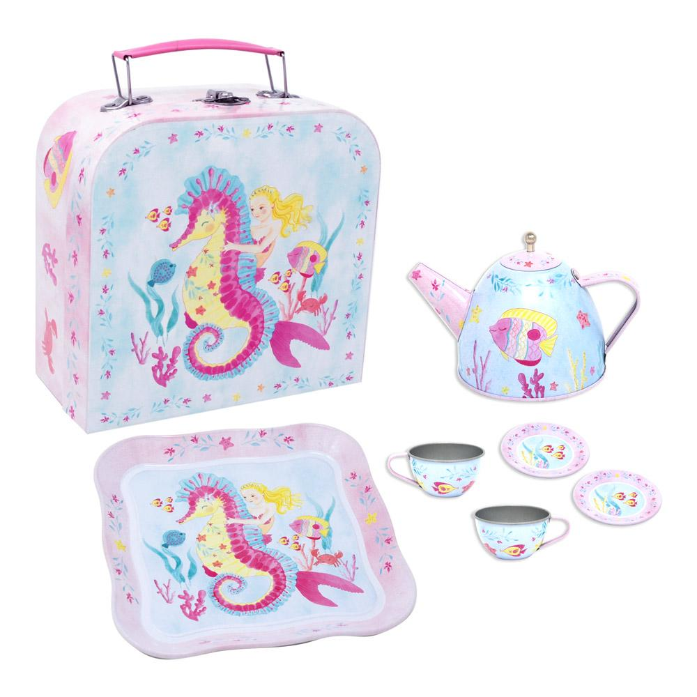 Wish Upon A Starfish Tin Teaset In Mcase - Pink Poppy