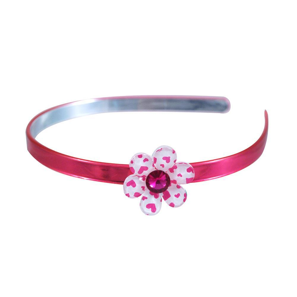 Heart Print Flower Gem Headband - Pink Poppy