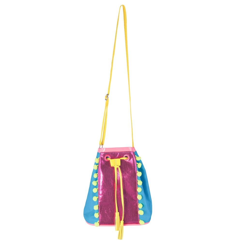 Pom pom party drawstring satchel-Blue - Pink Poppy