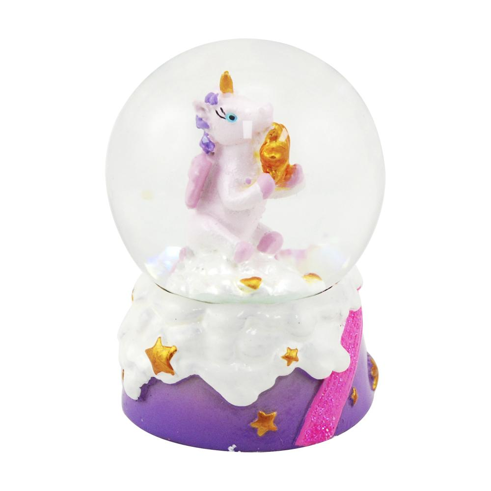 Mini unicorn w/star snowglobe-purple - Pink Poppy