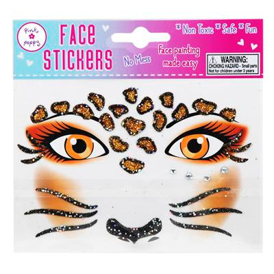 Leopard Face Sticker - Pink Poppy