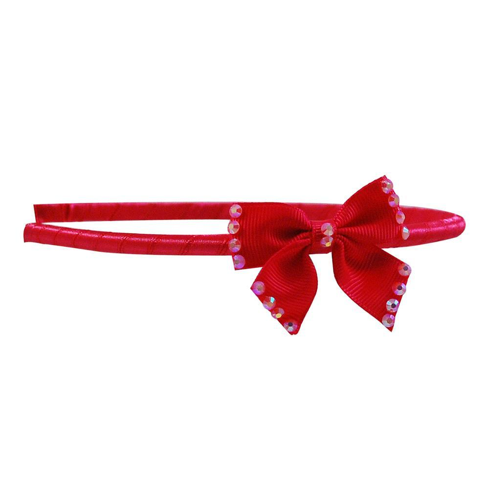Fabric Bow With Sparkle Gem Headband - Pink Poppy