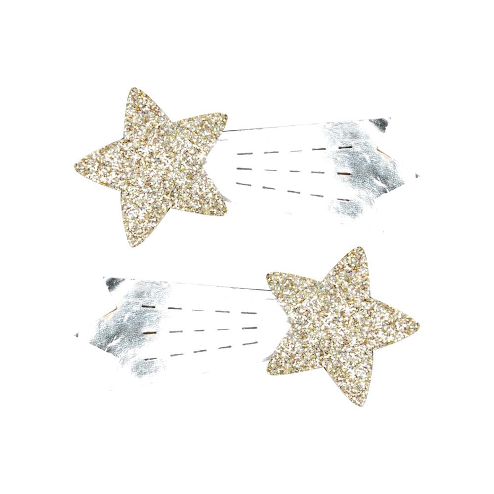 Metallic shooting star hairclips - Pink Poppy
