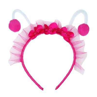 Bumble Bee & Lady Bug Headband In Pink - Pink Poppy