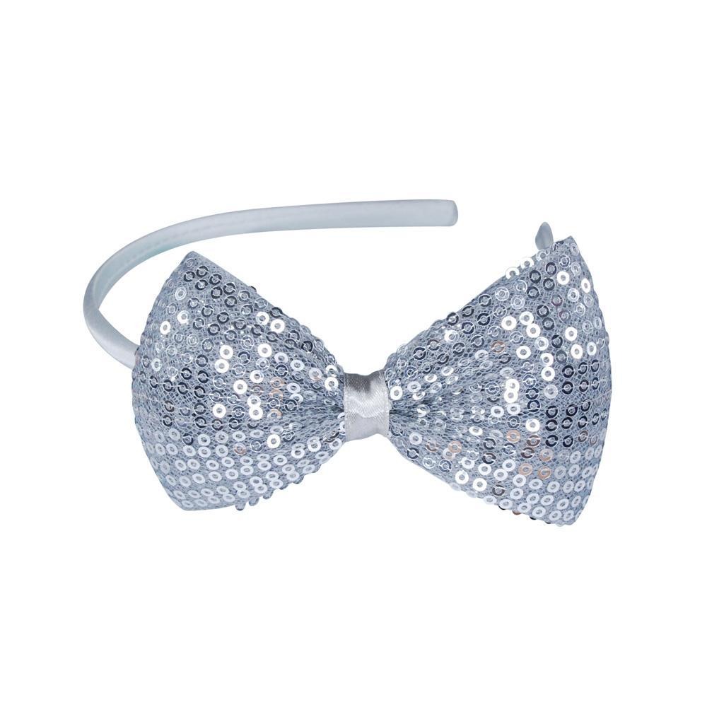 Sequin Large Bow Headband - Pink Poppy