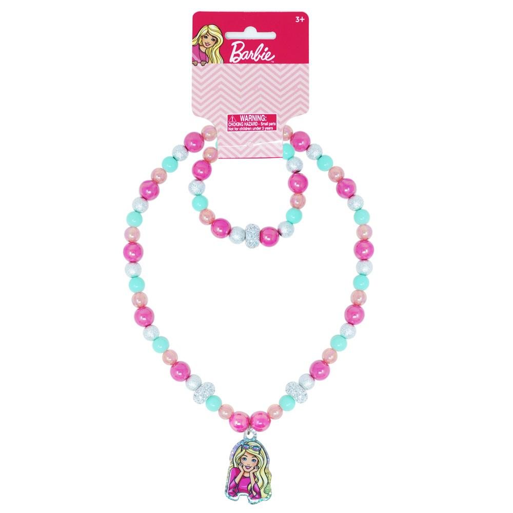 Barbie Necklace & Bracelet Set - Pink Poppy