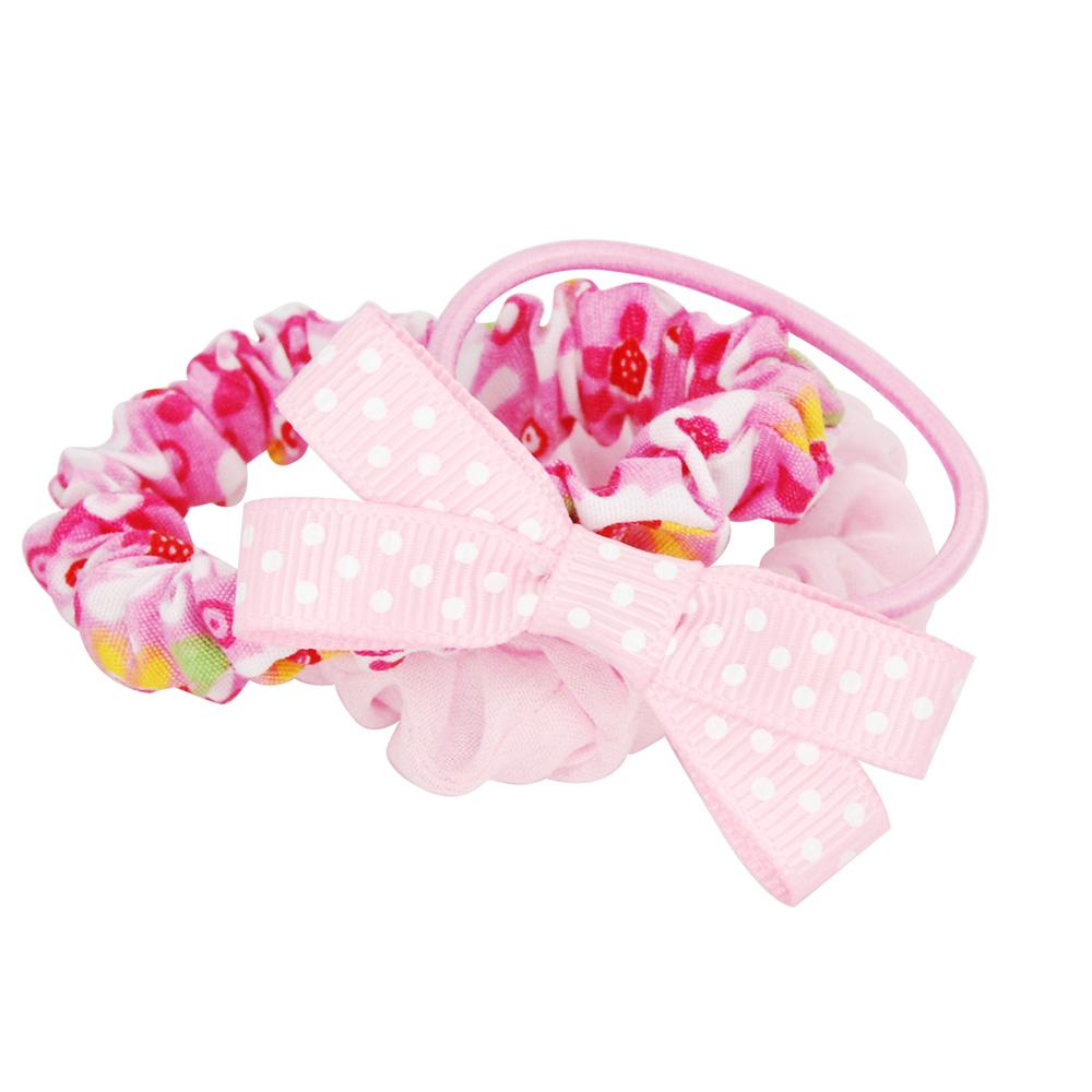 Floral fabric hair elastic set - Pink Poppy