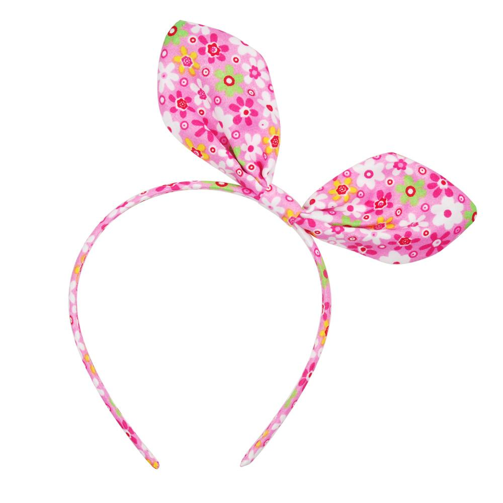 Floral Fabric Bunny Ear Headband - Pink Poppy