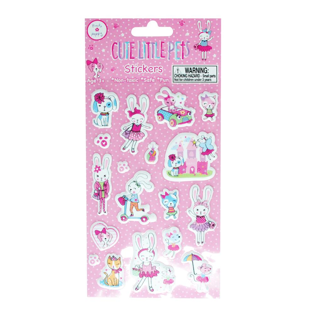 Cute little pets puffy stickers - Pink Poppy