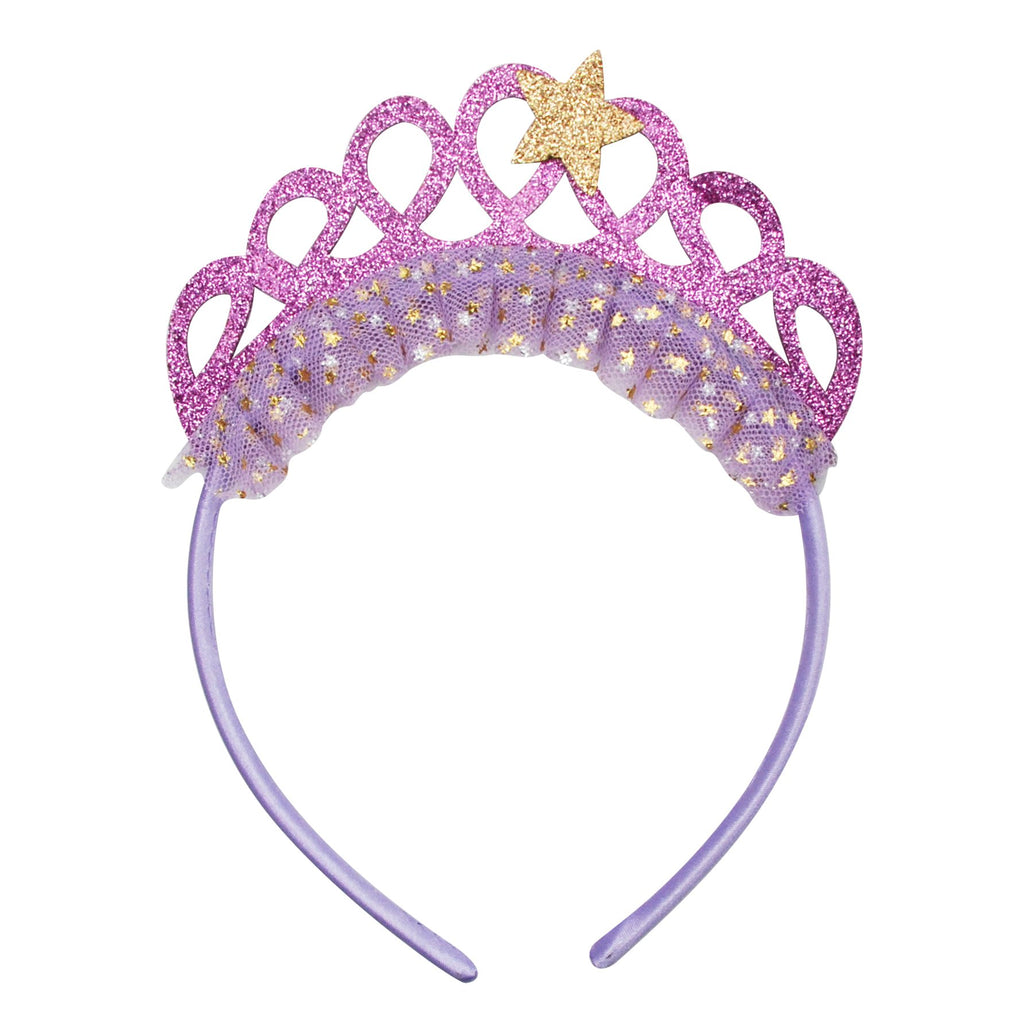 Lilac Glitter And Tulle Crown Headband - Pink Poppy