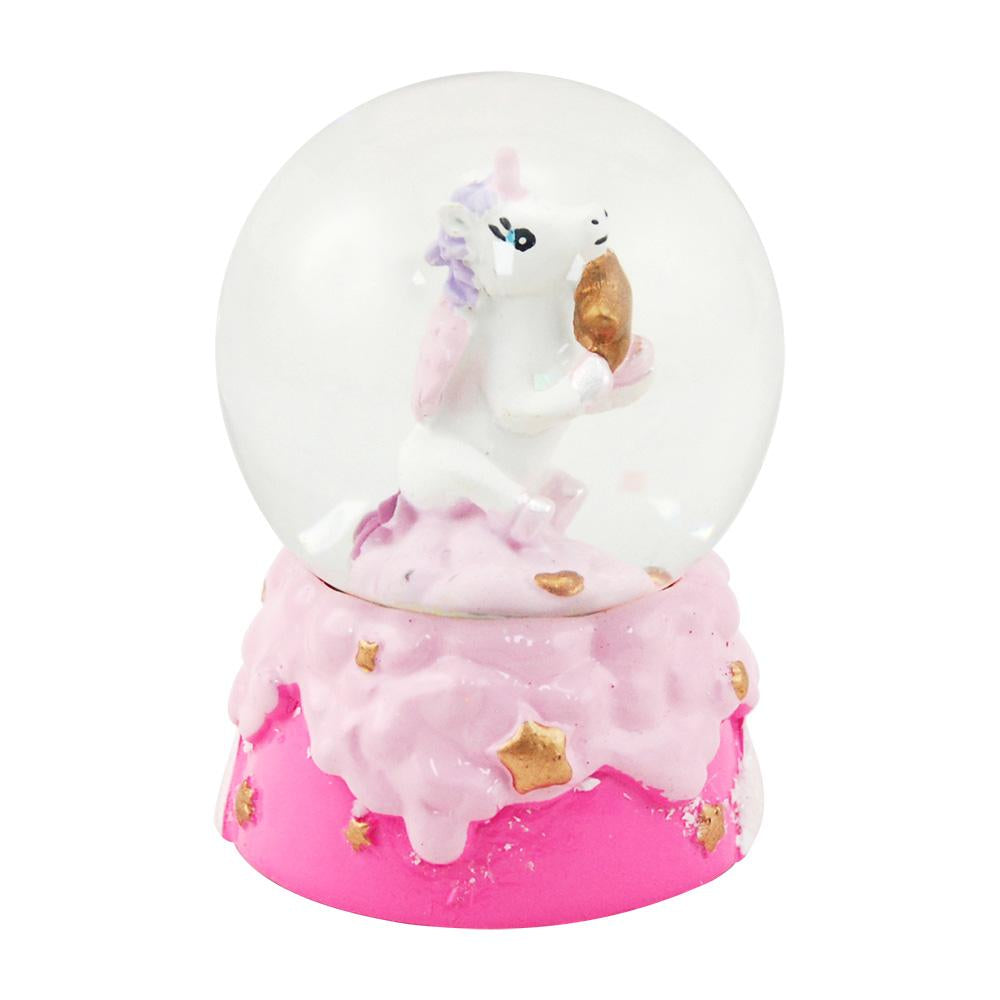 Mini unicorn w/star snowglobe-hpink - Pink Poppy