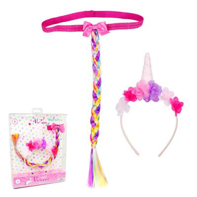Unicorn Headband & Tail Set - Pink Poppy