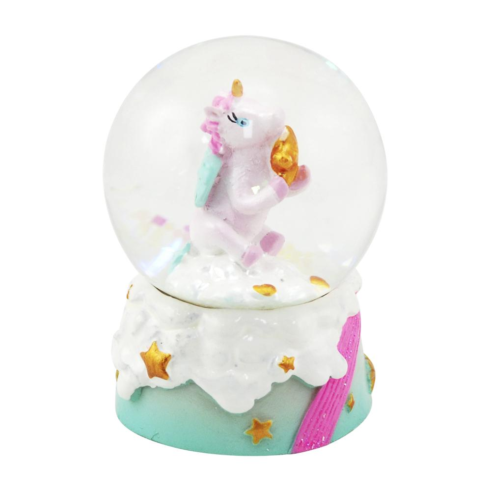 Mini unicorn w/star snowglobe-mint - Pink Poppy