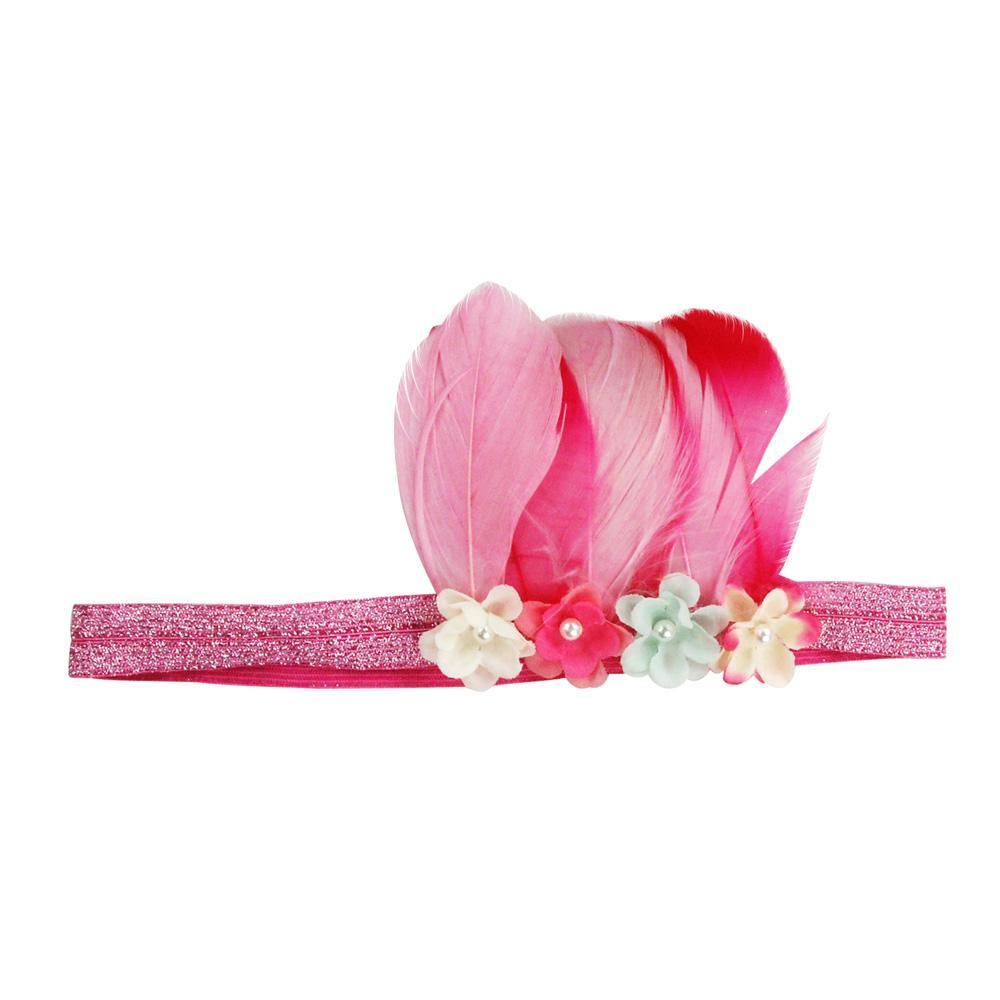 Feather Headband - Pink Poppy