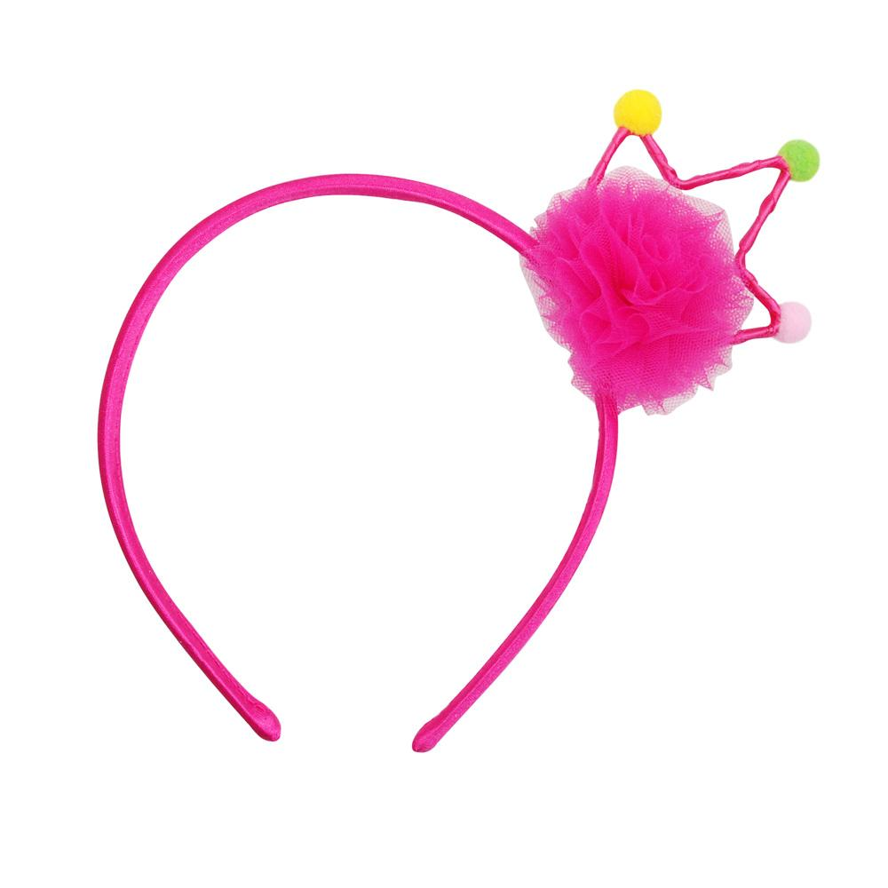Party Pom Pom Crown Headband - Pink Poppy