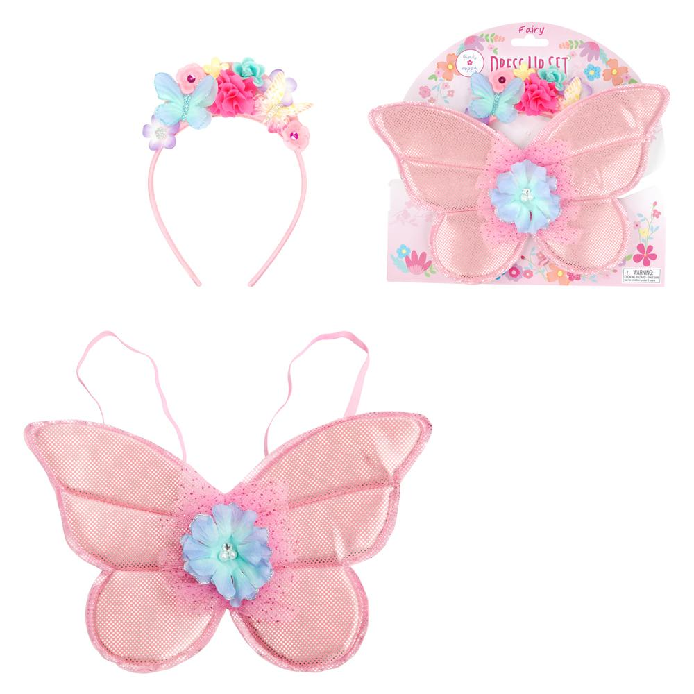 The Little Fairy Headband And Wing Set - Pink Poppy