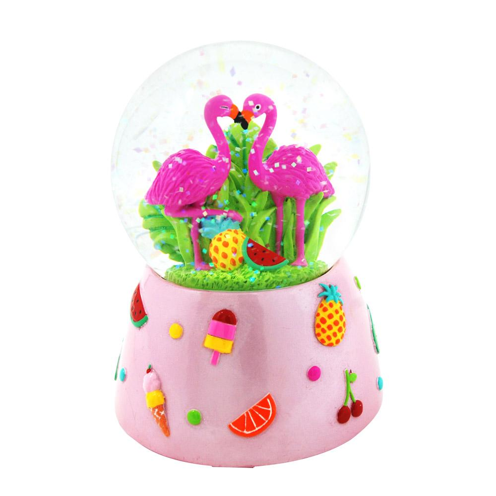Fabulous flamingo musical snow globe - Pink Poppy