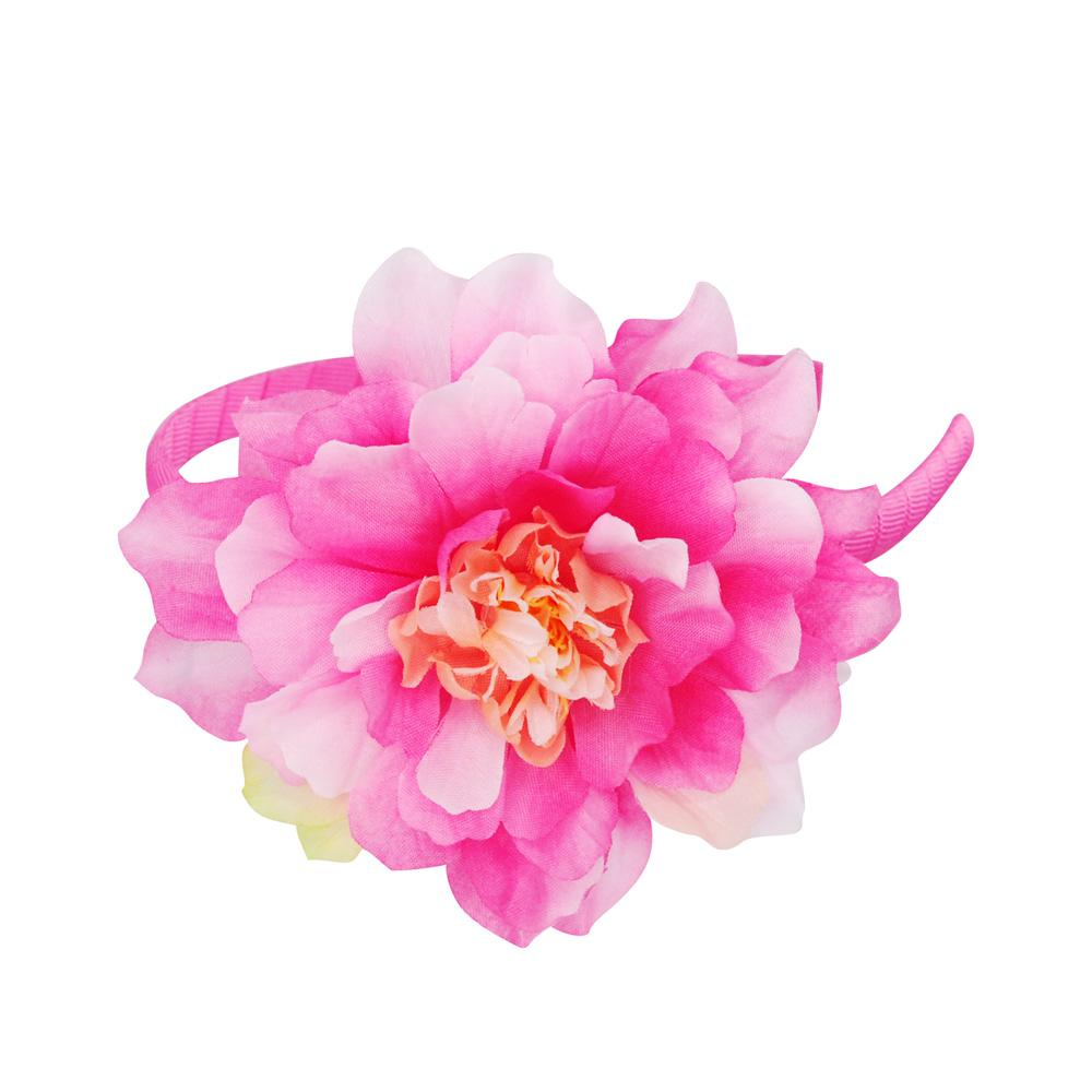 Pretty Dahlia Flower Headband - Pink Poppy