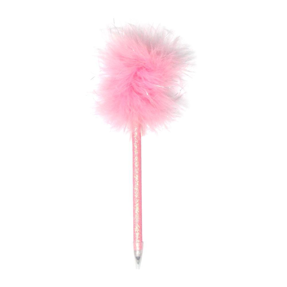Glitter Barrel Fluffy Pen - Pink Poppy