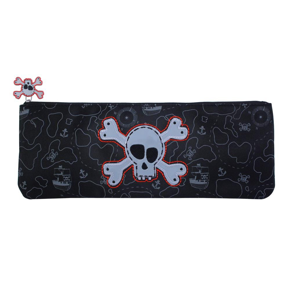Pirate pencil case long-black - Pink Poppy