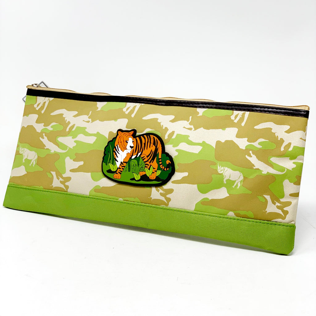 Timeless & wild pencil case-gr w/tiger - Pink Poppy