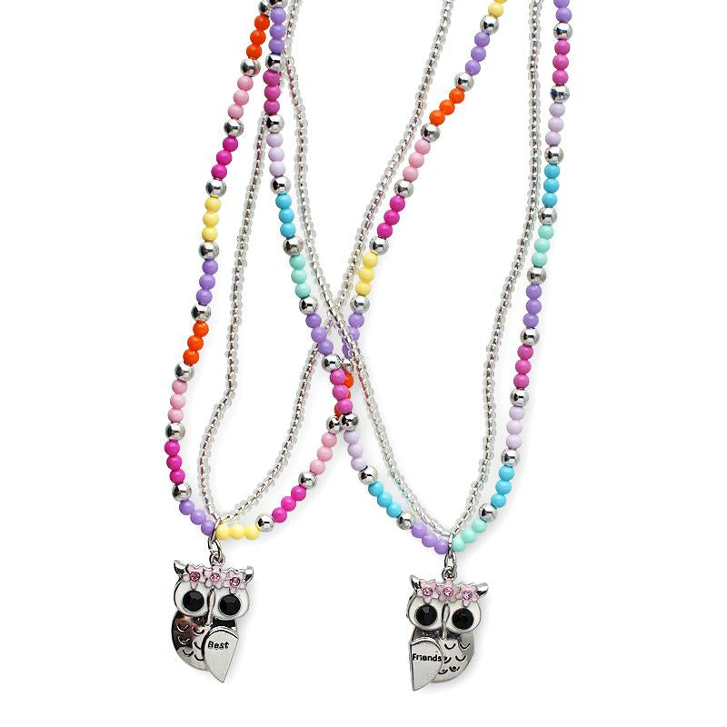 Best friends owl necklace set - Pink Poppy