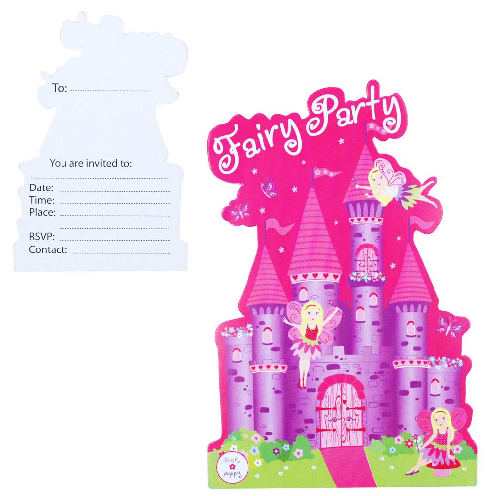 Fairy/princess invitation card-8pc/pack - Pink Poppy