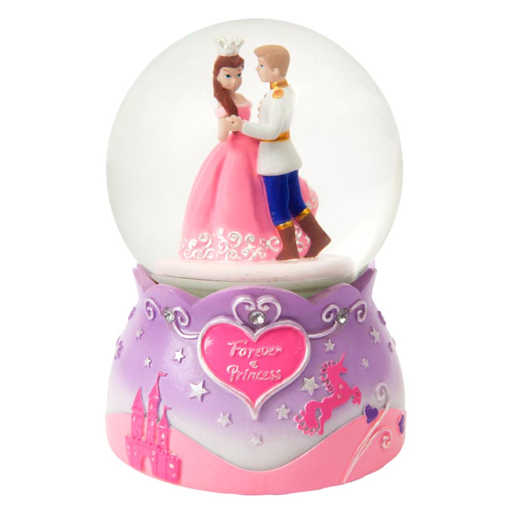 Princess Large Rotating Snow Globe - Pink Poppy