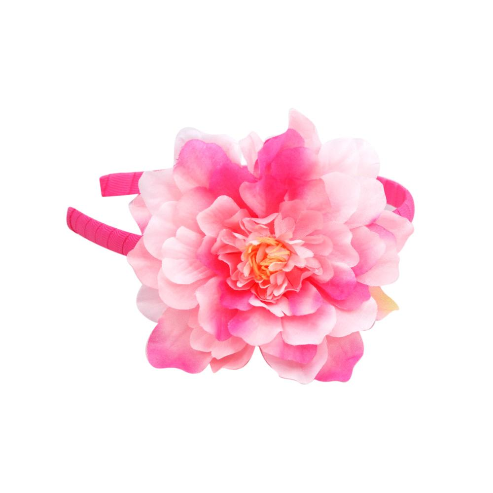 Pretty Dehlia Flower Headband - Pink Poppy