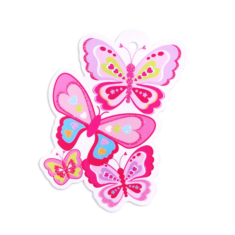 Rainbow butterfly gift tag - Pink Poppy