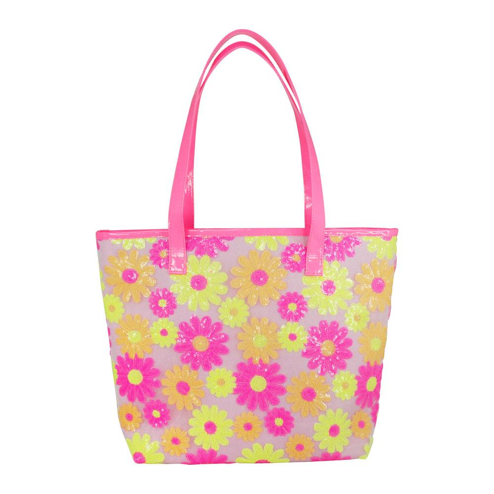 Sequin daisy beach bag-lilac - Pink Poppy