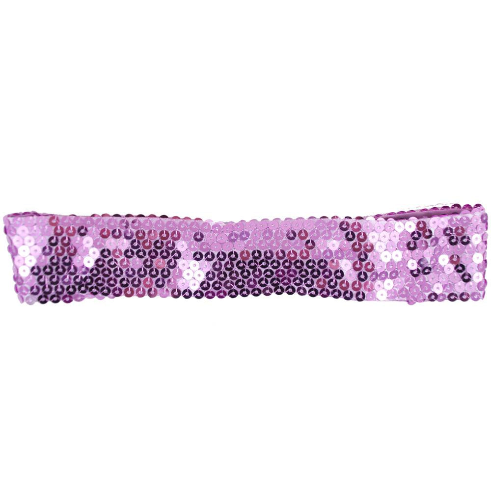 Sequin W Elastic Headband - Pink Poppy
