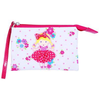 Polka dot doll wristlet-white - Pink Poppy
