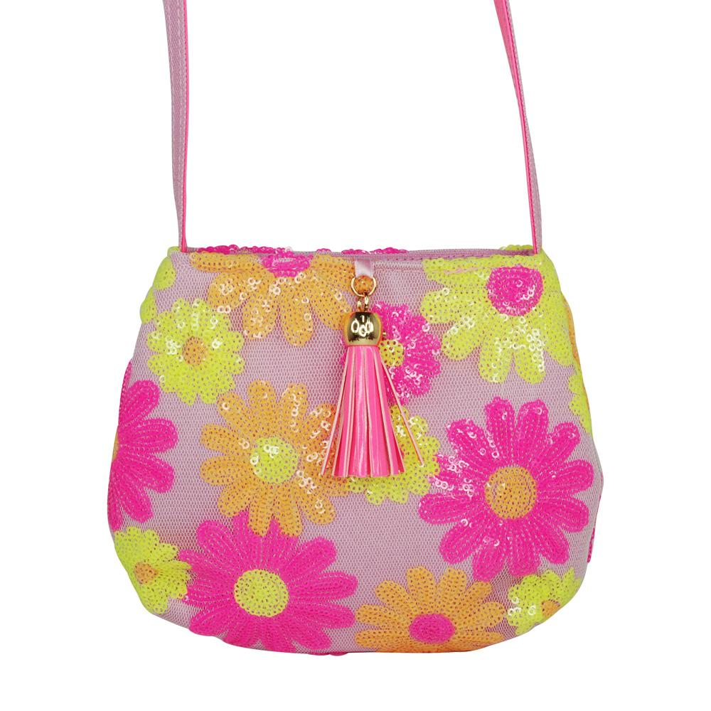 Sequin Daisy Shoulder Bag-Lilac - Pink Poppy
