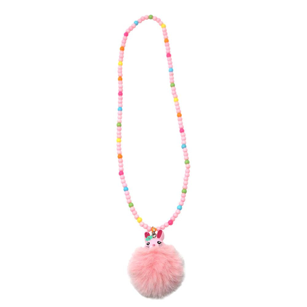 Pom pom bunny necklace - Pink Poppy