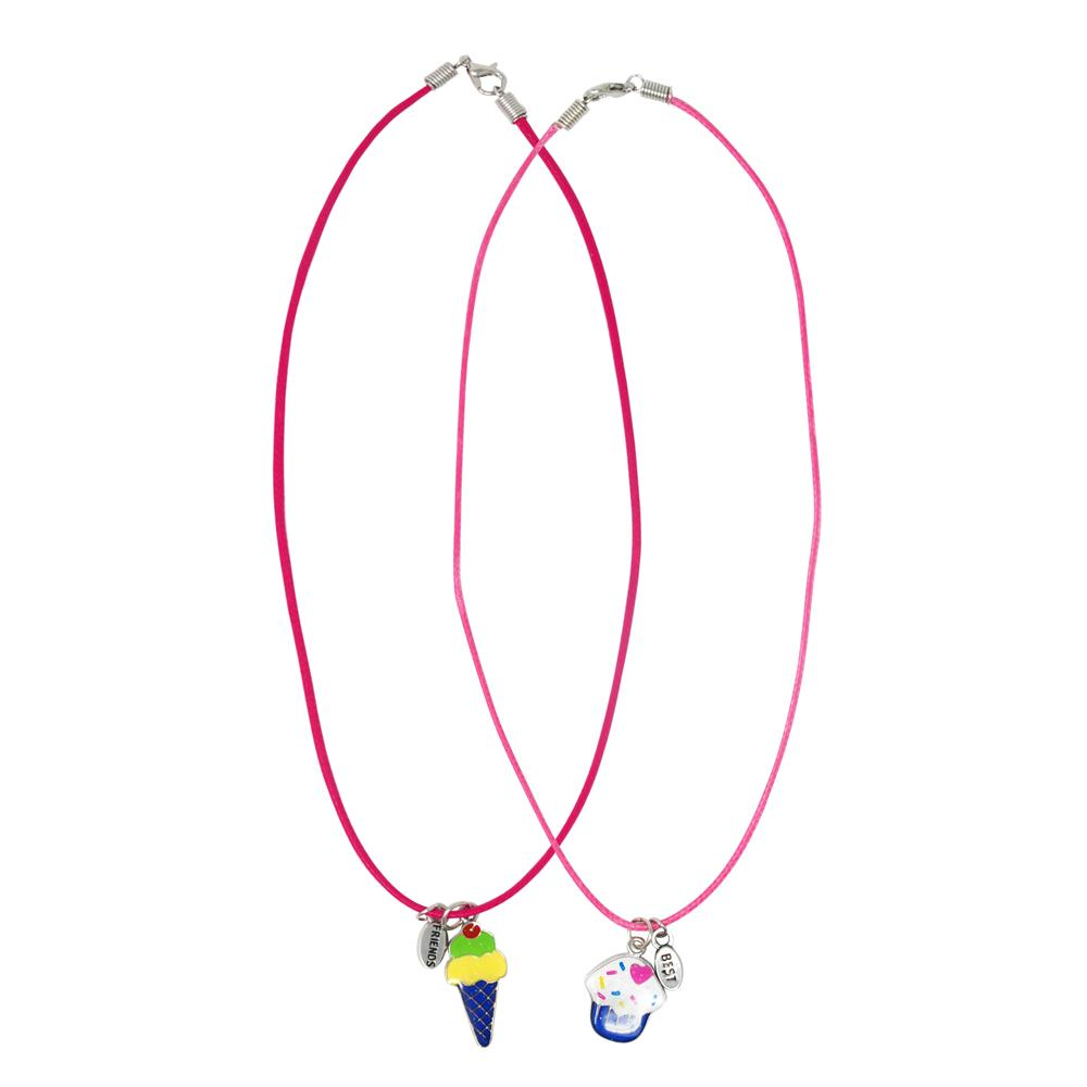 Cotton Candy Ice Cream Mood Necklace Set - Pink Poppy