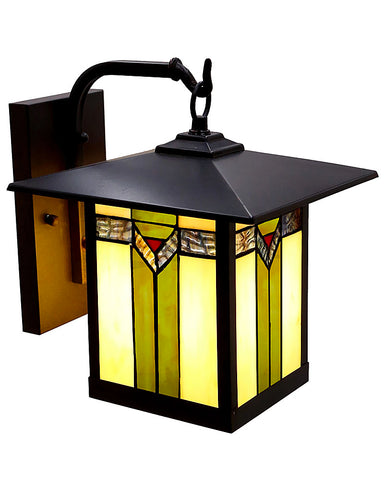 Mission Craftsman Stained Glass Wall Sconce - 97 Angled