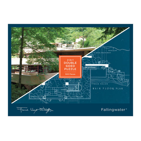 Frank Lloyd Wright Fallingwater 2-Sided 500 Piece Jigsaw Puzzle - Front