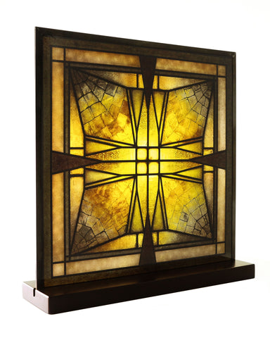 Frank Lloyd Wright Thomas Entry Ceiling Light Stained Glass (angle)