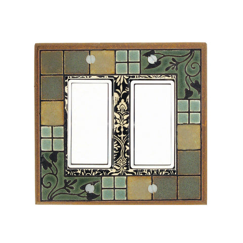 Arts & Crafts Ceramic Tile Switch Plate Double Rocker