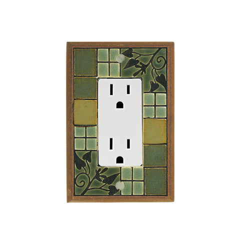 Arts & Crafts Ceramic Tile Switch Plate Single Rocker Outlet