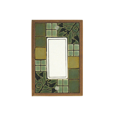 Arts & Crafts Ceramic Tile Switch Plate Single Rocker