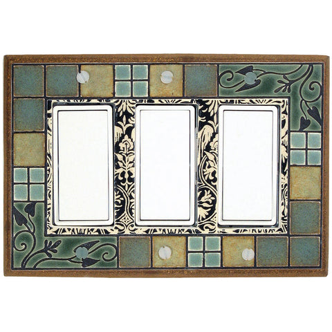 Arts & Crafts Ceramic Tile Switch Plate Triple Rocker
