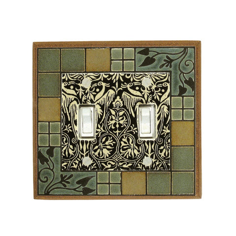 Arts & Crafts Ceramic Tile Switch Plate Double Toggle