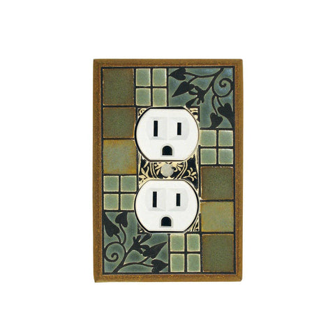 Arts & Crafts Ceramic Tile Switch Plate Single Outlet