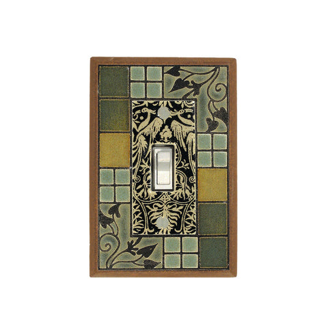 Arts & Crafts Ceramic Tile Switch Plate Single Toggle