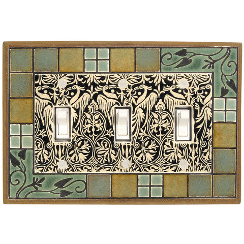 Arts & Crafts Ceramic Tile Switch Plate Triple Toggle