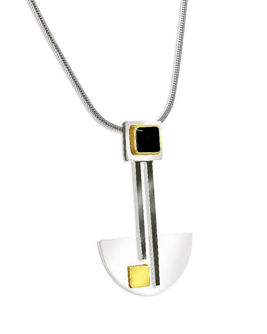 Bauhaus Silver and Black Onyx Pendant
